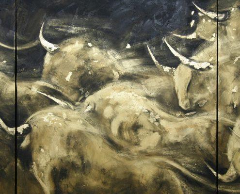 140 x 300 cm Torrente de oro I 2009