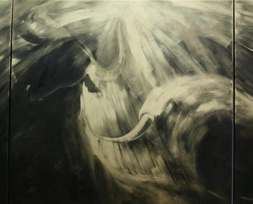140 x 420 cm Fuente dorada 2009