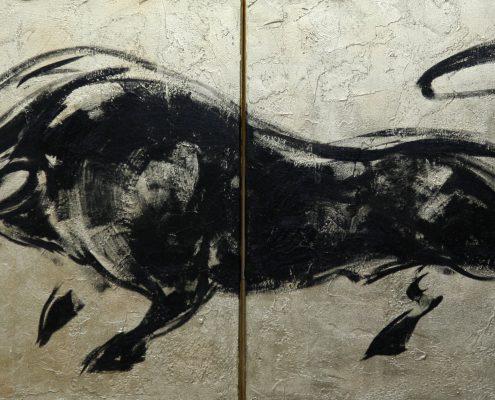 70 x 140 cm Carbon y oro I 2009